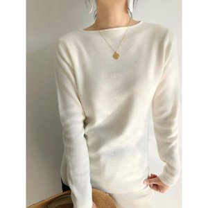 Women Sweater 2020 Autumn One-word Collar Women's Casual Solid Color Knitted Bottoming Sweater Pullover Slim Slimmer