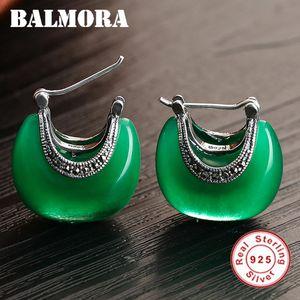 Balmora 100% Real 925 Pendientes de plata esterlina Pendientes Joyería Retro elegante Opal Stud Pendientes para mujeres Forma de luna MyS30283 210202