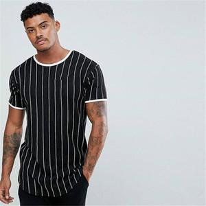 Men's short-sleeved t-shirt summer European and American slim striped bottoming shirt trendy round neck top T-shirt men