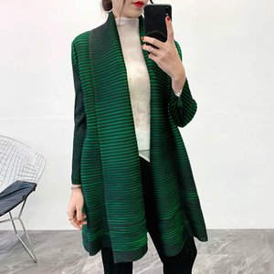 LANMREM Solid Color Scarf Collar Mid-length Cardigan Women New autumn Korean Loose Pleated Coat With Belt high quality PC78 201015