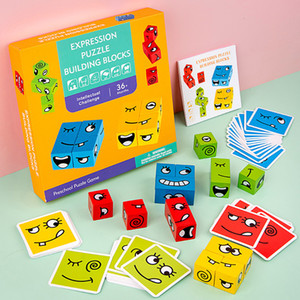 2020 Montessori Expression Puzzles Building Block Face Changing Logical Thinking Training Wooden Children's Early Education Toy