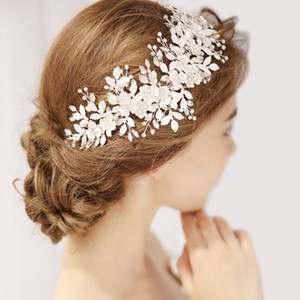Floral Bridal Headpiece Tiara Wedding Hair Accessories Crystal Hair Vine Handmade Headband Hair Jewelry For Bride F1230