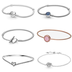 2021 NEW 100% 925 Sterling Silver Valentine's Day Limited Collection Chain Bracelet Fit Women Original Fashion Jewelry Gift