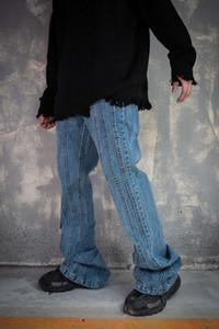 UNCLEDONJM Flare Jeans Moda kot erkekler Tasarımcı 20AW Sokak aşınma Hip Hop Pantolon Serbest uyum pantolon K8885