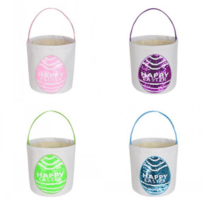 Happy Easter Basket Sequin Rabbit Baskets Canvas Easter Tote Gift Carry Eggs Candy Bag Plush Round Bottom Storage Handbags FY7481