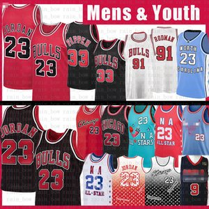 23 Michael Scottie 33 Pippen Dennis Rodman 91 Basketbol Jersey Erkek Gençlik Şikago