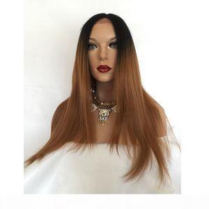 Neues Produkt Dunkle Wurzeln Ombre 1B30 Gerade Haarperücken mit Babyhaar Custom Volle Spitze Menschenhaarperücke