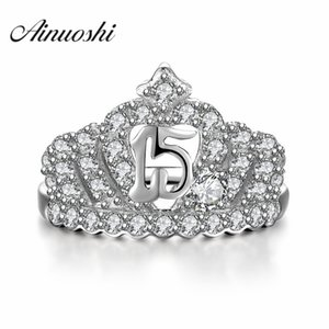 AINUOSHI Princess Ring Dimaond Crown Rings 925 Sterling Silver For Women Wedding Elegant Luxury Party Engagement Ring Jewelry Y200106