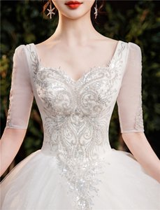 Romantic, sweet, dreamy wedding dress,High Fashion, new niche,Intellectual Elegant Generous Noble simple temperament trailing wedding dress