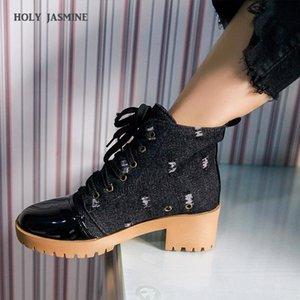 Holy Jasmine Women Boots New Otoño / Invierno Encaje-up Denim Boots Temperament Style Simple y versátil 2020 tobillo