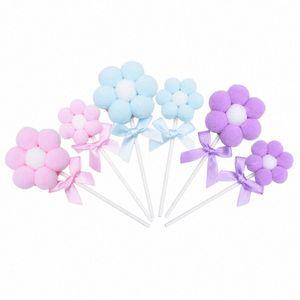 3sets empurrar a esfera flor da forma curva-nó Cake Toppers para fontes do partido do bolo de aniversário decoratons Cupcake Orament Baking Decoração u5LZ #