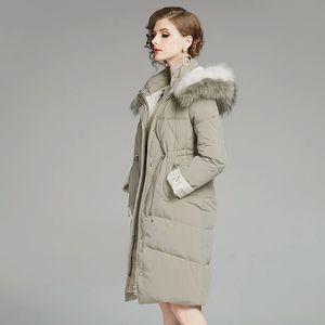 Hot Sale women winter real fur hood down coat luxury designer solid 90% white duck down filled jacket womens vintage long coats