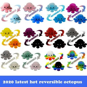 latest hot reversible octopus plush toys 10*20cm Stuffed Animals Cute flipped octopus doll double-sided expression octopus