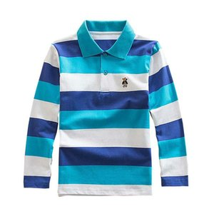 Children's striped long-sleeved polo shirt, boy's polo shirt and cotton lapel long-sleeved children's