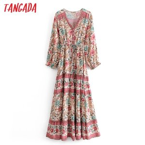 Tangada 패션 여성 Boho 스타일의 꽃 인쇄 Viscose Dress 2021 New Arrival Long Sleeve Ladies Long Dress Vestidos 3W38