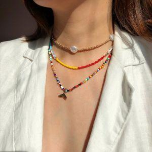 Necklace Set Boho imitazione perla della clavicola corda colorata elastica perline girocollo Boemia Fishtail Pendient monili del collare