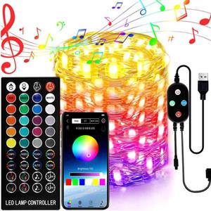 Smart Bluetooth-LED-String-Leuchten, LED-Zeichenfolge 20-200 LEDs-Fee-Lichter-Weihnachtsbaum-Dekorations-Beleuchtung App-Fernbedienung Feiertagsbeleuchtung