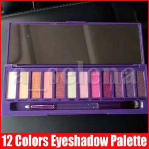 ماكياج العين 12 الألوان البنفسجية لوحة ظلال الأرجواني ماتي وميض الأشعة فوق البنفسجية ظلال العيون مع فرشاة