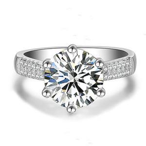 Europeus e americanos Moda High-End Jz039 Grande 2 Karat Womens seis garra Crown Platinum-Plated Diamante anel de casamento personalizado Diamante Rin