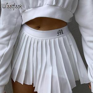 Waatfaak Blanc Jupe plissée Short Femme Taille élastique Mini Jupes Mircro Sexy Mircro Mini Jupe de tennis Jupe de tennis Nouveau Preppy Q0104