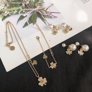 2020 CD neue Luxus-Designerin mit Diamanten besetzte Perle Klee Halskette Armband 925 Silber Nadel Ohrringe