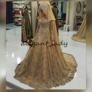 Vestido De Noiva Gold Lace Muslim Wedding Dresses 2021 High Neck arabic Long Sleeve Appliques Crystal Beading Bridal Gowns