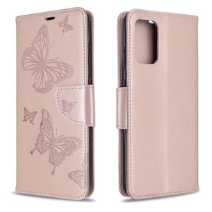 Para Galaxy S20 Ultra motivo de gofrado dos mariposas horizontal del caso del tirón del cuero de la PU con ranura para tarjeta titular de la cartera Lanyard