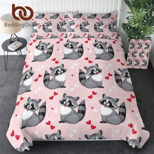BeddingOutlet Funny Raccoon Bedding Set Cute Animal Quilt Cover Cartoon Pink Bedspreads Hearts Home Textiles for Kids Bedroom Duvet Cover