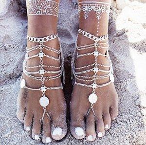 2018 neue Art und Weise Sommer-reizvolles Silber Quaste Armband für Frauen Münze Anhänger Kette Knöchel-Armband Fuss-Schmucksachen Barfuß Sanda Fuß Dekoration L
