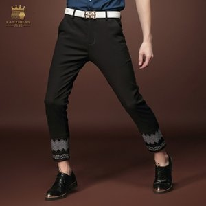 FANZHUAN brands Free Shipping fashion casual Men's male man New Summer black printing skinny trousers pants 15856 personality Y1114