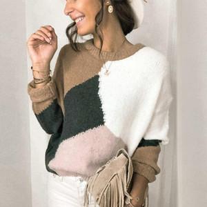Kadın Sonbahar Uzun Kollu Gevşek Pullover için Örme Renk Blok Kazak Casual Streetwear İnce Elbise Triko Tops