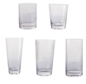 الجملة ناحية العرف في مهب عالية الجودة مضلع واضح زجاج عصير مياه الشرب النظارات مع مجموعة حافة الذهب