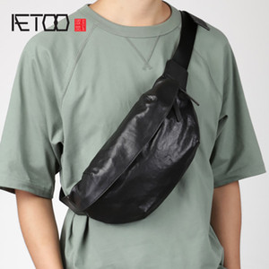 HBP AETOO Leather trendy chest bag, male personality diagonal bag, first layer leather sports bag