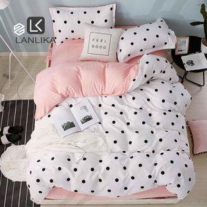 Lanlika Punkt-Kunst Weiß Rosa Bettdecke Set-Dekor Bettwäsche Textilien Schlafzimmer Erwachsenes Mädchen Bettbezug flaches Blatt Bettwäsche-Set C1026