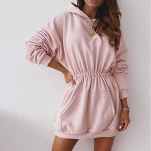 Muyogrt Frauen Lange Pullover Kleid elastische Taillen-feste lange Ärmeltasche mit Kapuze Pullover Kleid Frauen Pullover Pullover