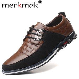 Merkmak Autumn Genuine Leather Men Casual Shoes Breathable lace-up Oxfords Dress Business Formal Wedding Party Big Size Shoes 201008