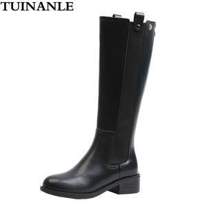 Tuinanle Boots Women Mid-becerro de alta calidad PU de cuero, zapatos con cremallera ecuestre Zapatos a prueba de agua Botas MUJER INVIERNO 201124
