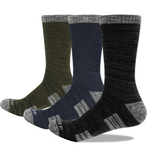 YUEDGE Brand Men's Breathable Cushion Cotton Warm Outdoor Athletic Riding Tennis Hiking Runing Crew Dress Socks (3 Pairs Pack) 201027