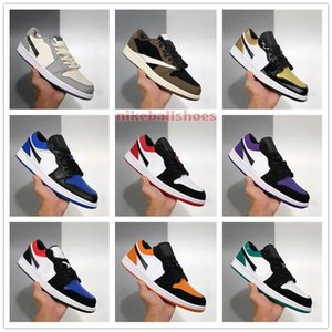 2020 jordon 1 Low Mens Womens kids shoes for sale With Box Court Purple Shattered Backboard Multi-Color DIER Basketball shoe store US4-US11