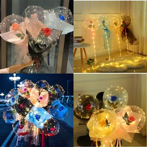 LED Luminous Balloon Rose Bouquet Transparent Bubble Enchanted Rose with Stick Bobo Ball Valentines Day Wedding Party Decor E121801