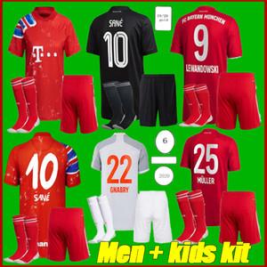 Erkekler + Çocuk Kiti 2021 SANE Lewandowski Gnabry Futbol Forması 2020 2021 Ev İnsan Yarışı Futbol Gömlek Coman 4. Futbol Gömlek