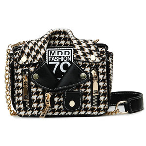 Trendy Jacket Pattern Houndstooth Style Fashion Leather Bag Crossbody And Handbags Chain Women Female Purses Shoulder Mljie