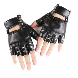 Luxury-New Women Rivet Stage Performance Punk Sexy Half Finger Leather Gloves Nightclub Queen Female Personality Hip Hop Dance