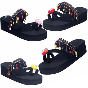 Flip-flop Beach Shoes Ladies Summer High-heeled Slippers Ladies Fashion Personality Style Flip Flops Thick Bottom Seaside Fringed Sandals