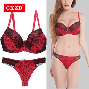 CXZD 2pcs / Sets Push-Up-BH-Sets Frauen Nahtlose Stickerei Bralette bügel Breathable Unterwäsche-Wäsche-Set C1114