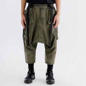 Мужские брюки Носуцизм Зеленая капля промежность 3d карманы длина лодыжки Techwear Ninjawear Darkwear Японский StreetStyle