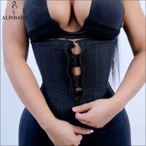 Mujeres de látex cintura Trainer Body Shaper corsés con cremallera Reductora de la tapa del corsé que adelgaza la correa Negro Shapers Fajas más el tamaño