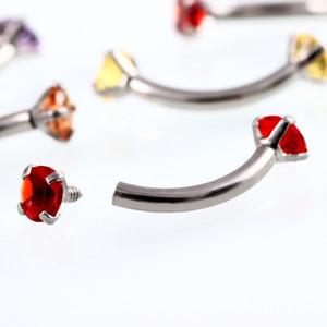 Acciaio inossidabile di cristallo della gemma dell'anello del sopracciglio Tragus Helix Rook Orecchini Piercing curvo Banana Piercing Bijoux Lip Helix squilla i monili 16G