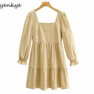 Yenkye старинное сплошное цветное платье женщин квадратная шейка с длинным рукавом a-line повседневная женское платье плюс размер короткий весенний Vestido