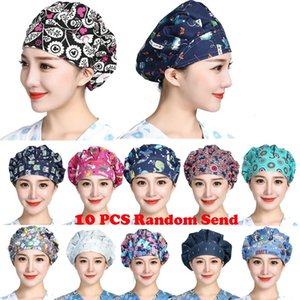 10PCS Set Random Send Wholesale Unisex Scrub Cap Reuseable Working Caps Washable Cotton Adjustable Sweatband Bouffant Hats New